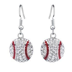 Jewelry - Rhinestone Baseball Dangle Earrings